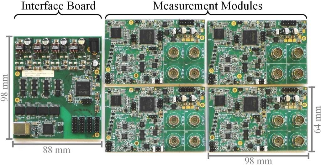 Photograph of the interface board and four measurement modules. The interface board consists of about 200 components and has dimensions of 98 x 88 mm². On the measurement modules about 300 components are populated and its dimensions are 98 x 64 mm².